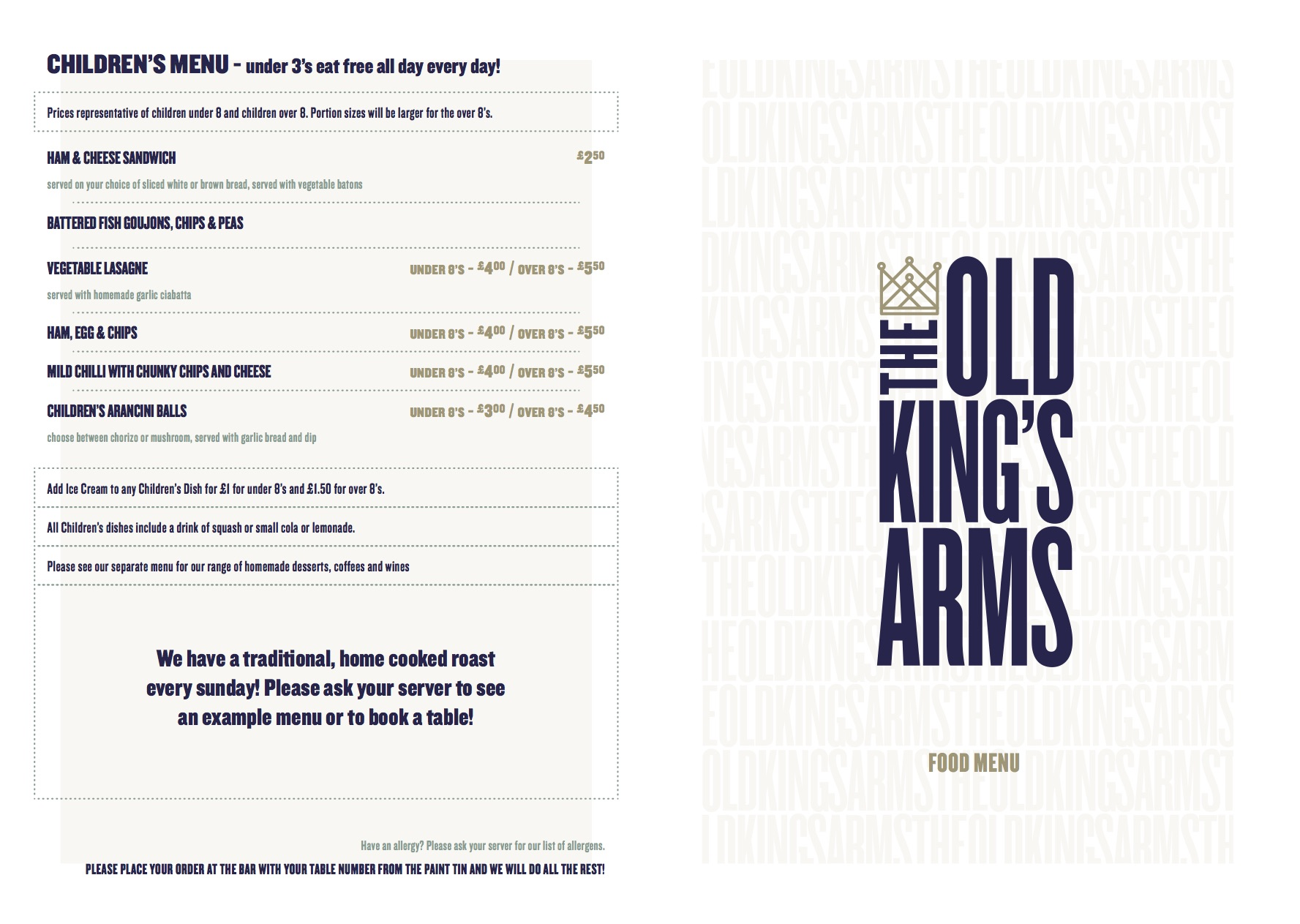 Our Menus  The Kings Kitchen  The Kings Kitchen